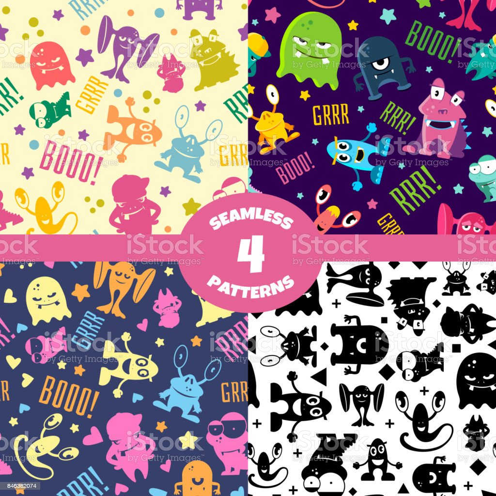 Seamless patterns set with cute cartoon monsters vector art illustration