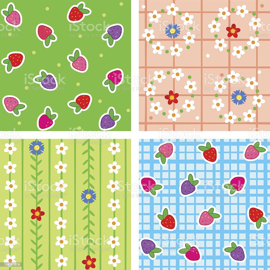 Seamless patterns with berries and flowers vector art illustration