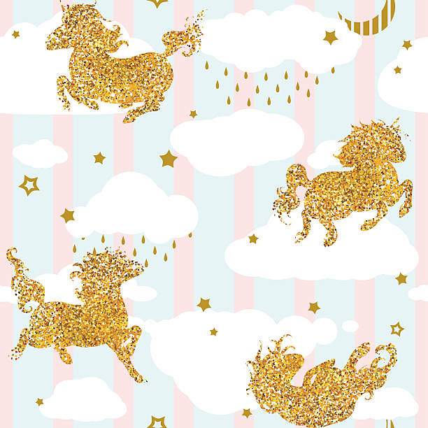 Seamless Patterns With Cute Baby Unicorns Vector Art Illustration