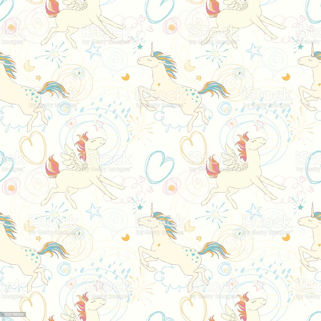 Seamless patterns with unicorns, Pegasus, pony. vector art illustration