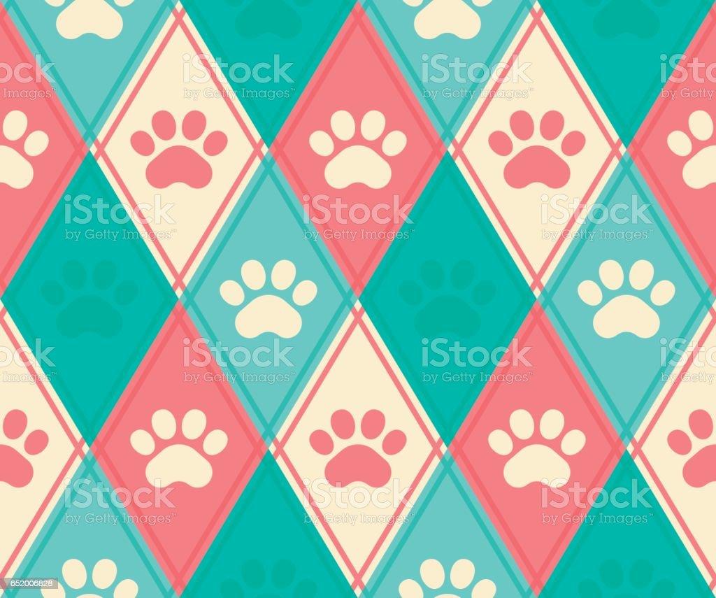 Seamless Paw Print Background vector art illustration