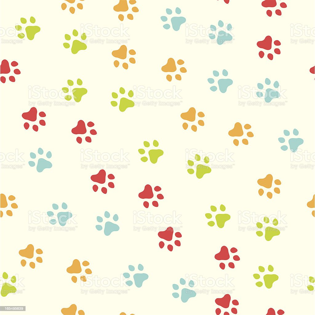 Seamless paw print pattern royalty-free stock vector art