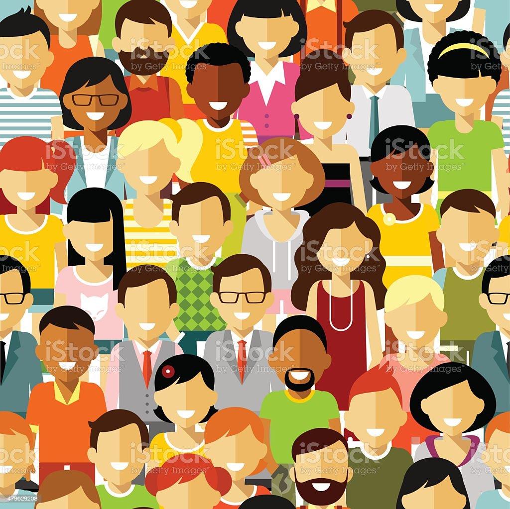 Seamless people background vector art illustration