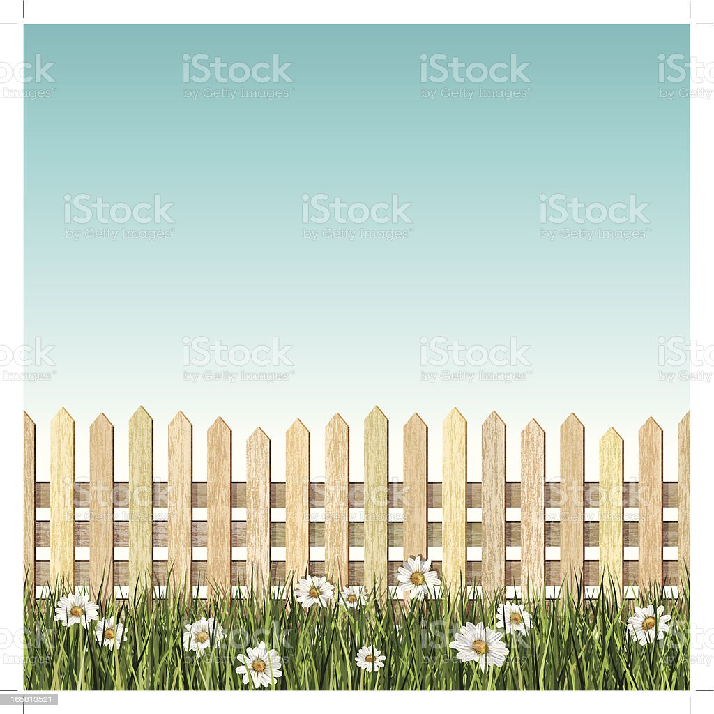 seamless picket fence and daisys background vector art illustration