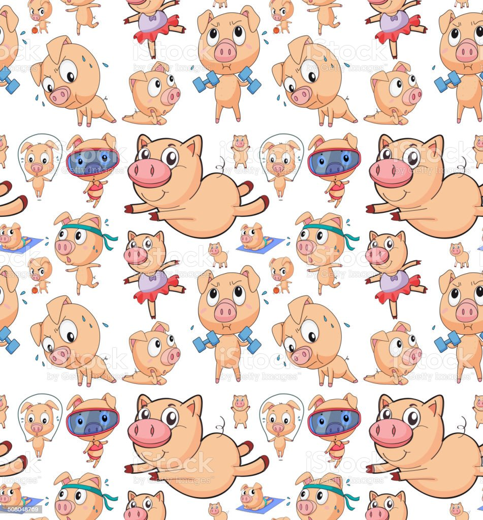 seamless pigs vector art illustration