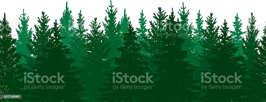Seamless Pine Tree Forest Background vector art illustration