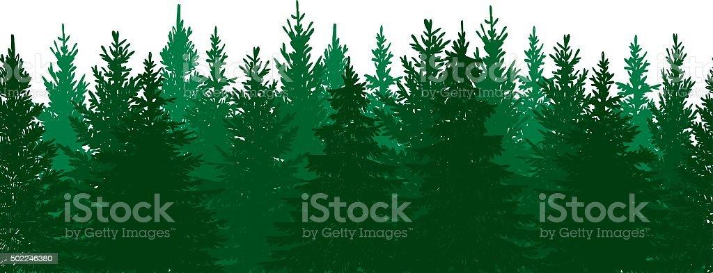 Seamless Pine Tree Forest Background vector art illustration