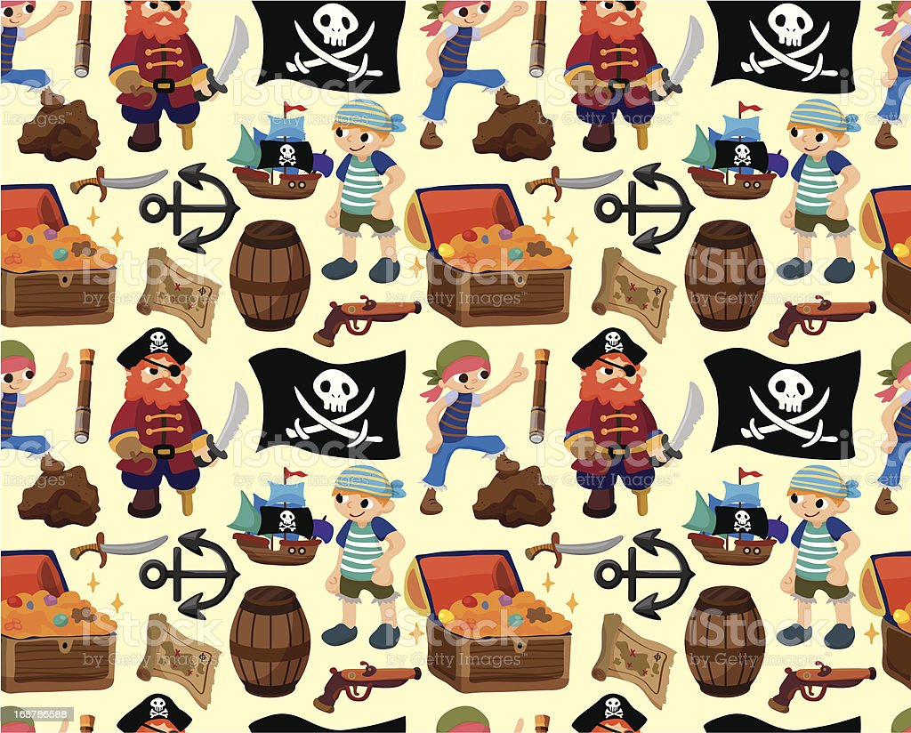 seamless pirate pattern royalty-free stock vector art