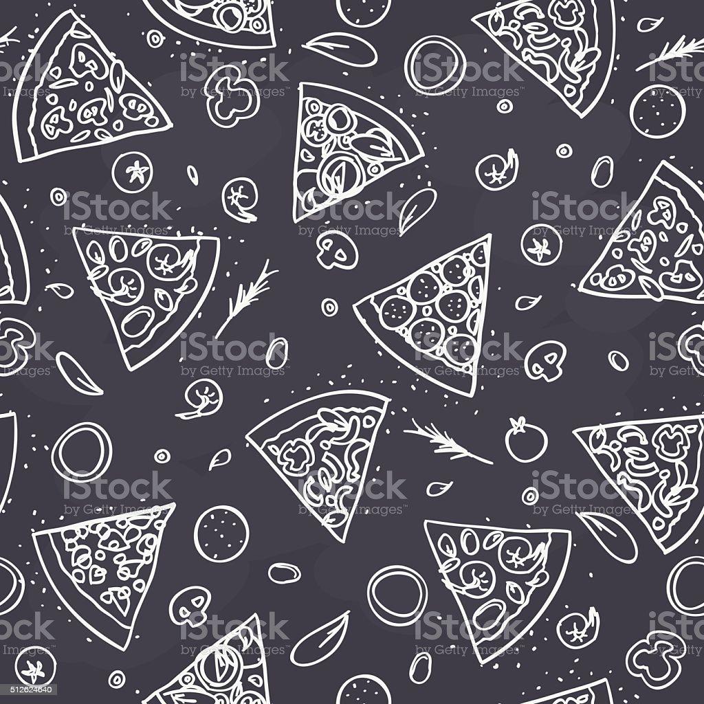 seamless pizza pattern on dark background vector art illustration