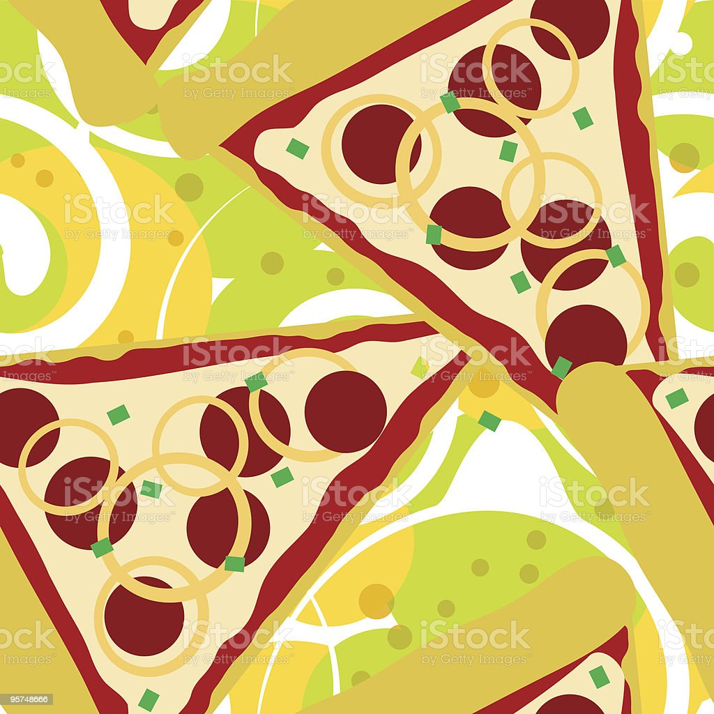 Seamless pizza slice background tile vector art illustration