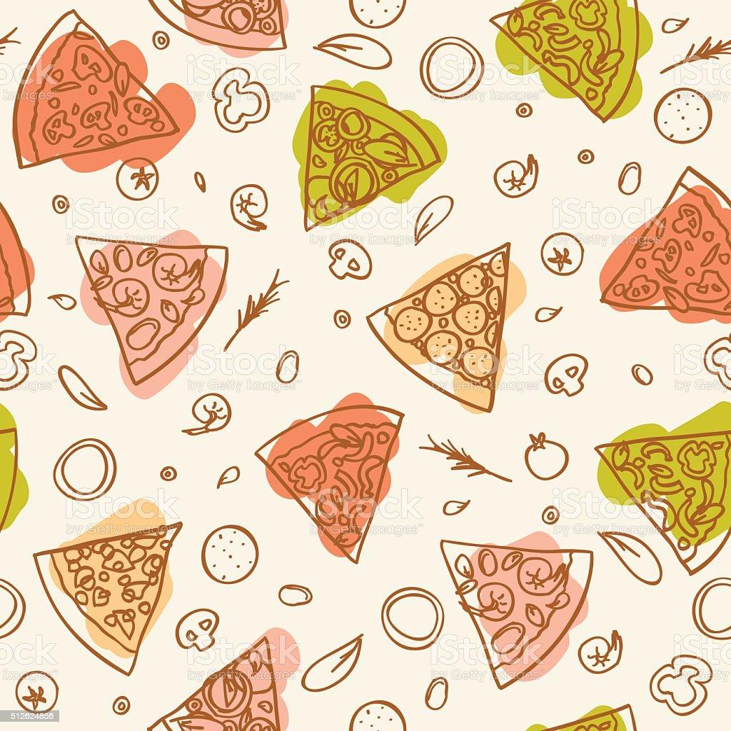 Seamless Pizza Slices Pattern stock vector art 512624856 ...