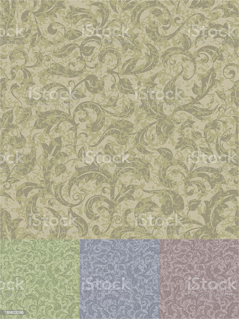 Seamless Plant Pattern with Grunge/Weathered effect royalty-free stock vector art