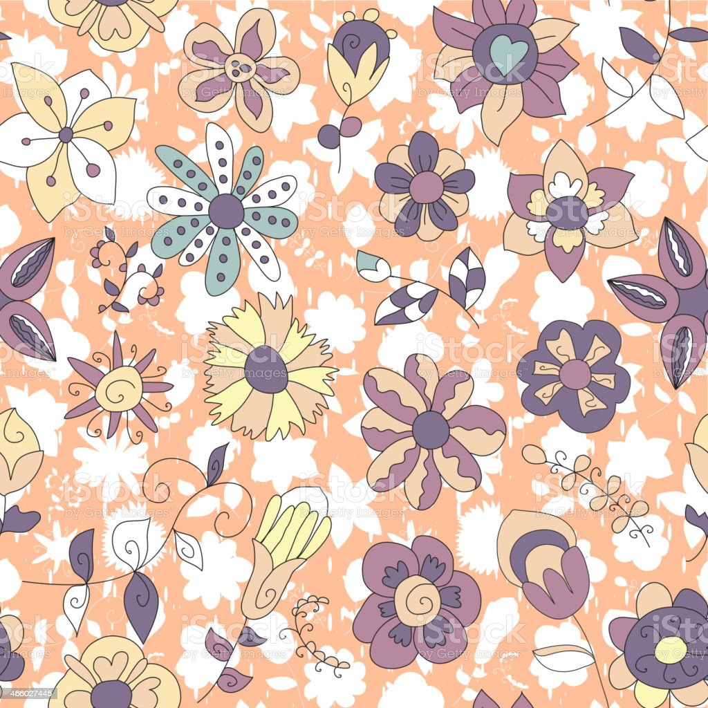 Seamless plant texture of futuristic fantastic flowers, twigs and leaves vector art illustration