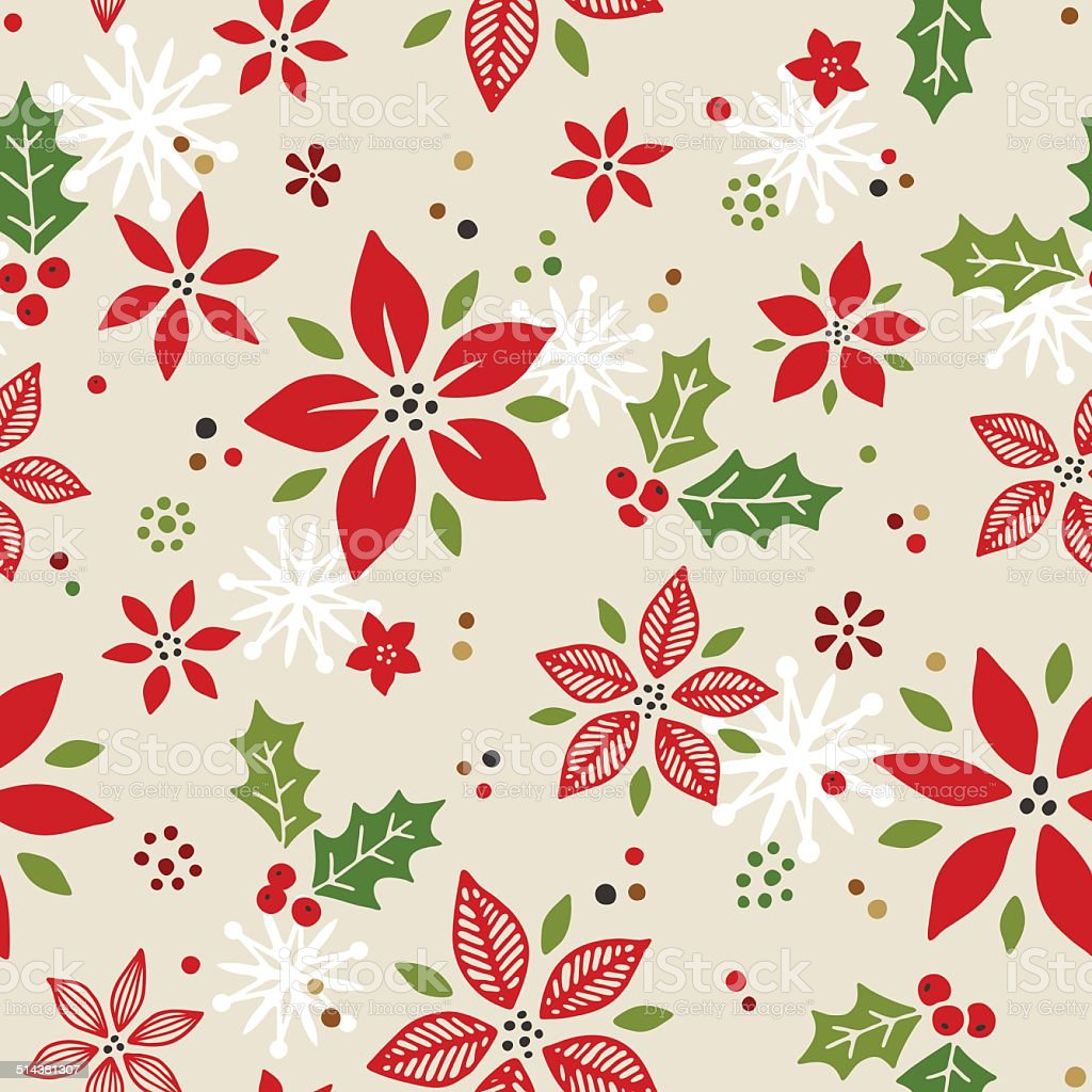 Seamless Pointsettia Pattern vector art illustration