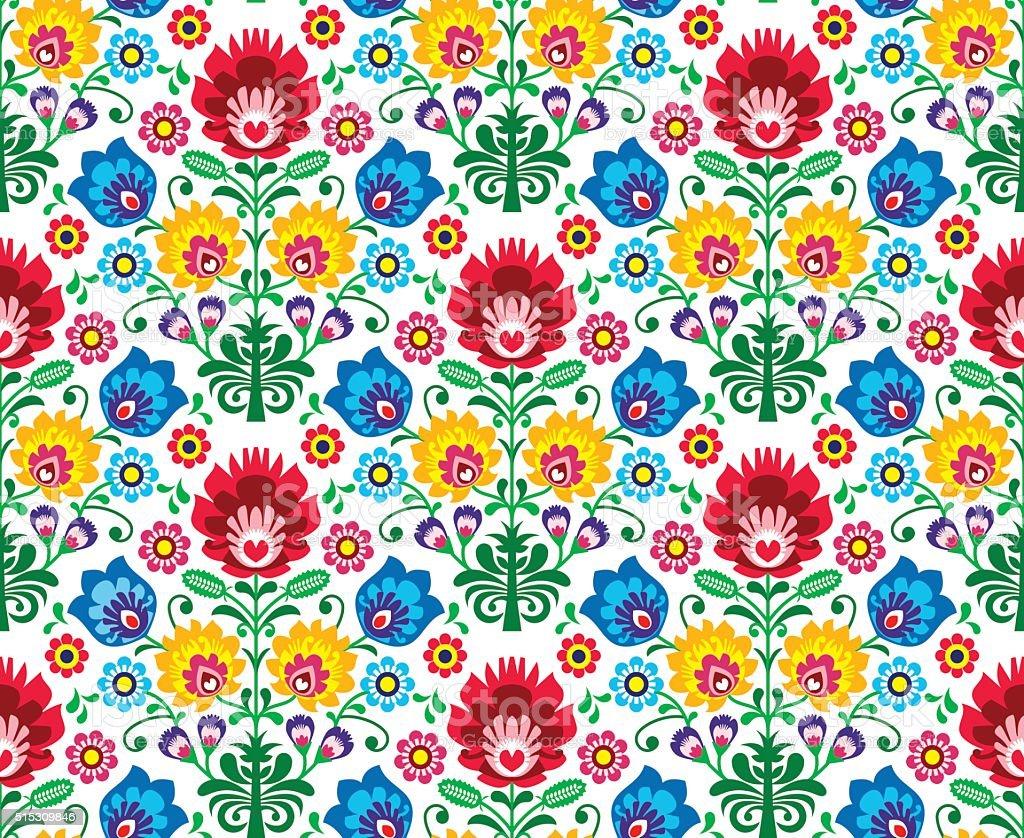 Seamless Polish folk art floral pattern vector art illustration
