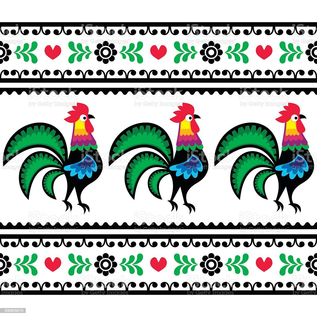 Seamless Polish folk art pattern with roosters vector art illustration