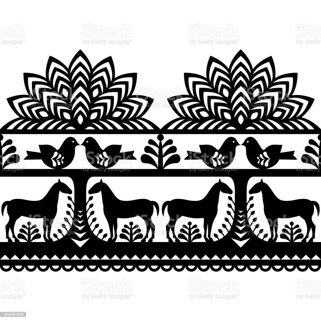 Seamless Polish folk art pattern Wycinanki Kurpiowskie - Kurpie Papercuts vector art illustration