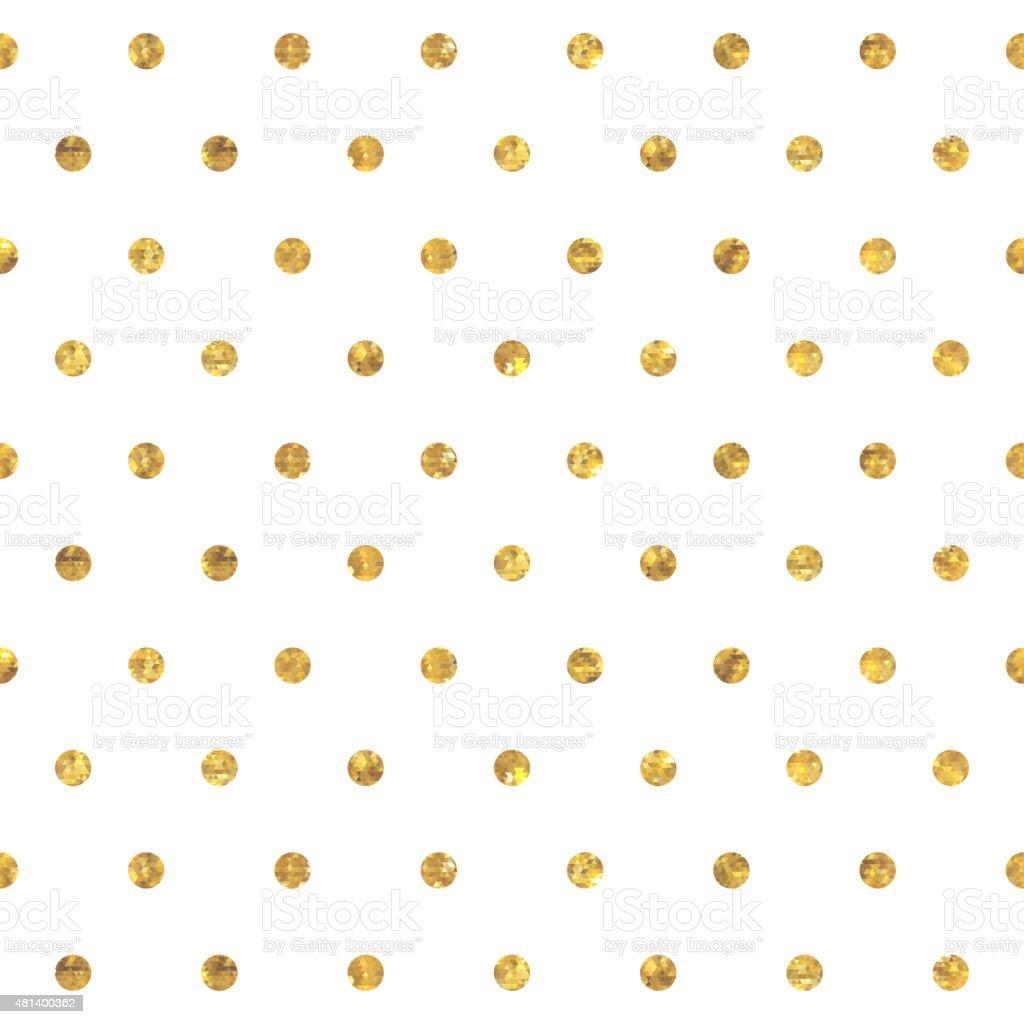 Seamless polka dot golden pattern vector art illustration