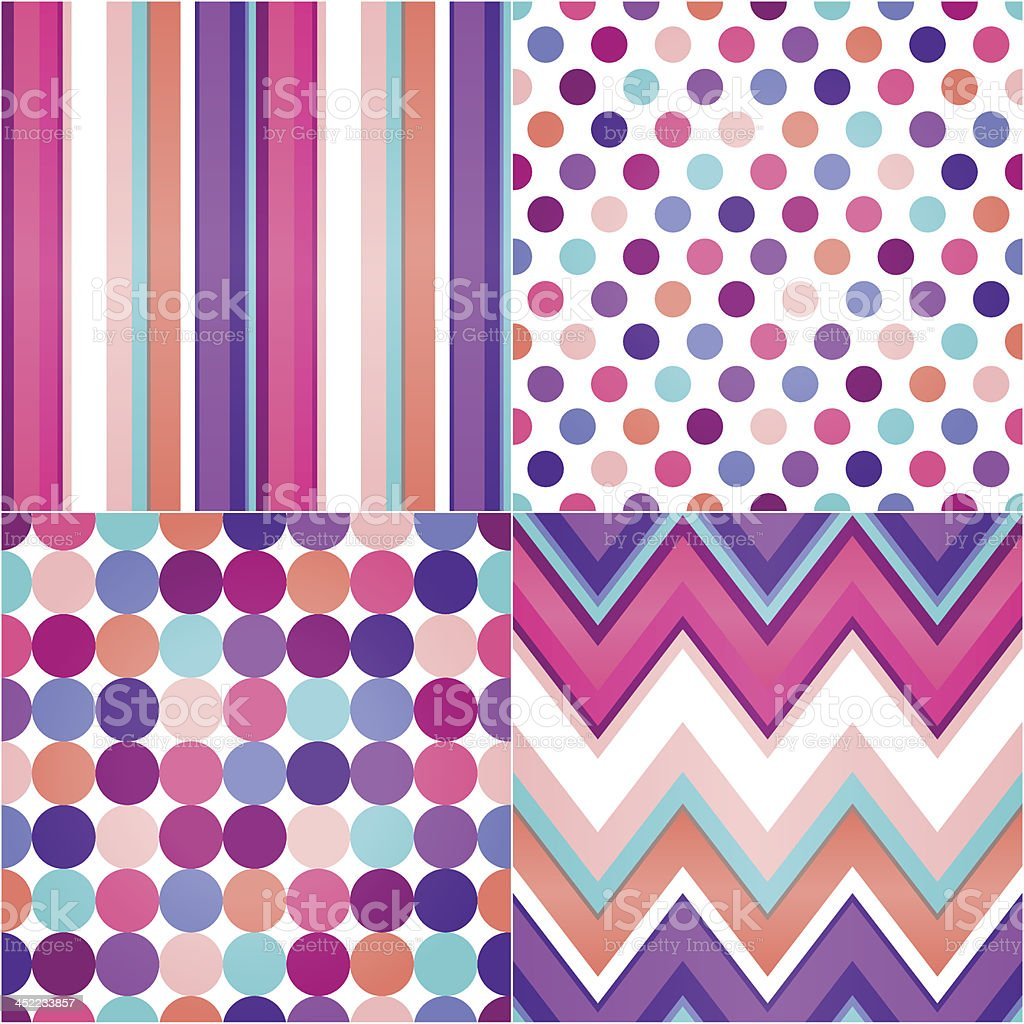 Seamless polka dots, stripes colorful background royalty-free stock vector art