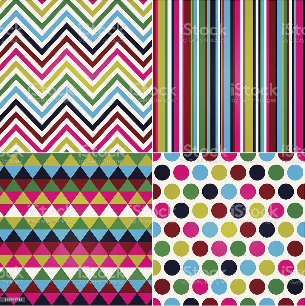 seamless polka, stripes and zig zag pattern royalty-free stock vector art