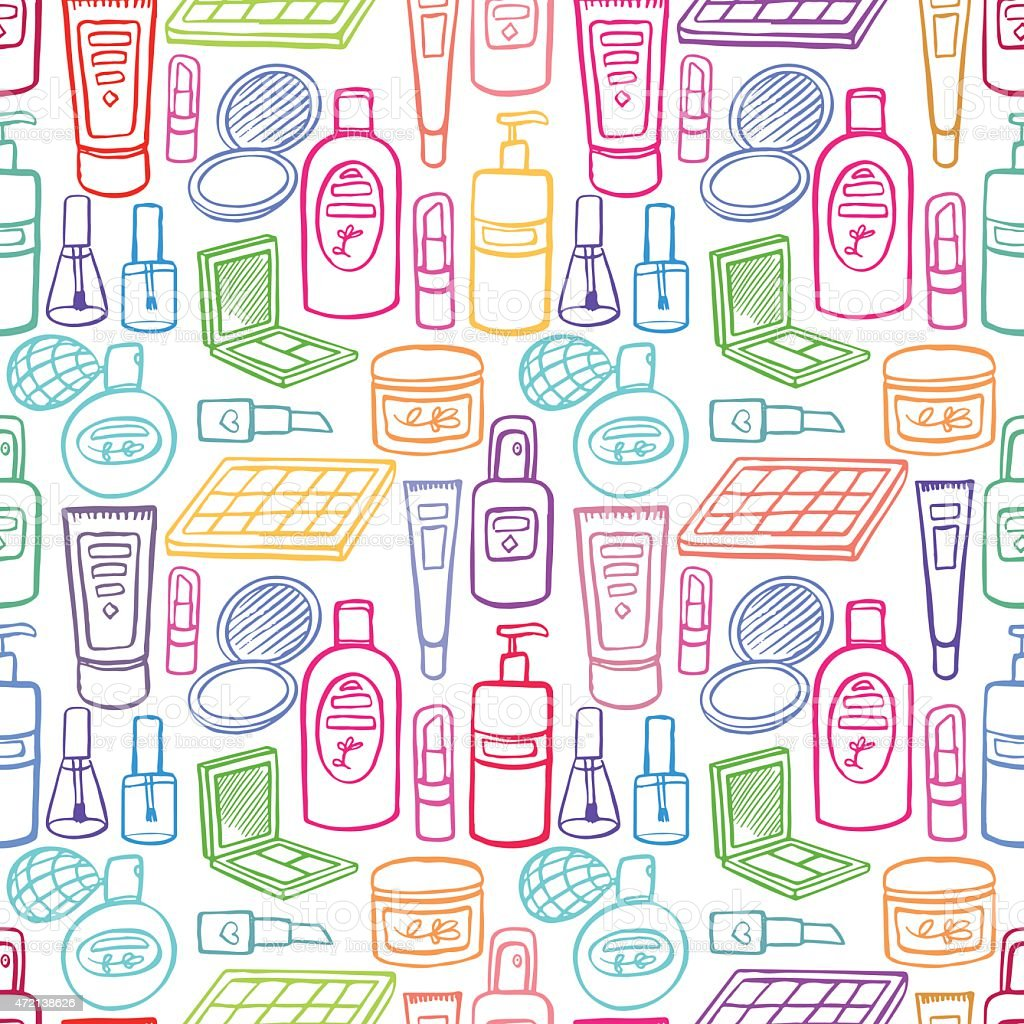 seamless products for body care vector art illustration