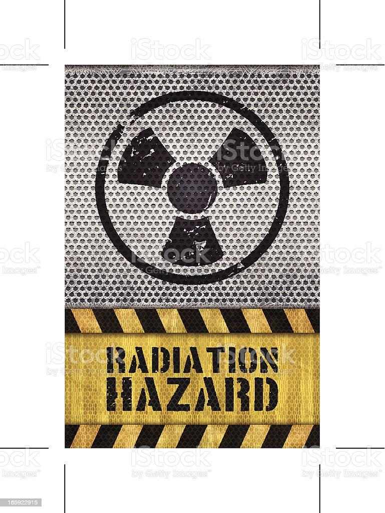 seamless radioactivity warning sign with metal grid royalty-free stock vector art