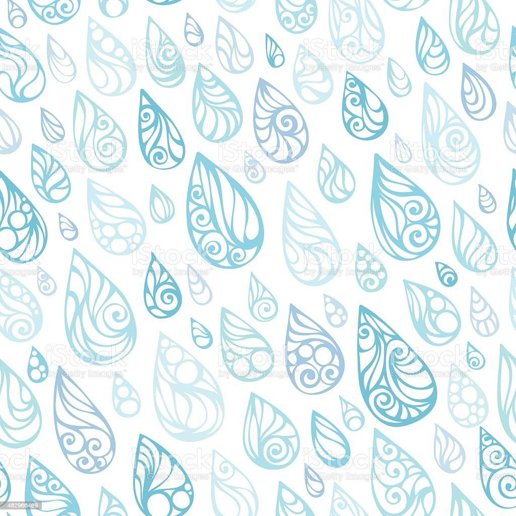 Seamless rain pattern vector art illustration