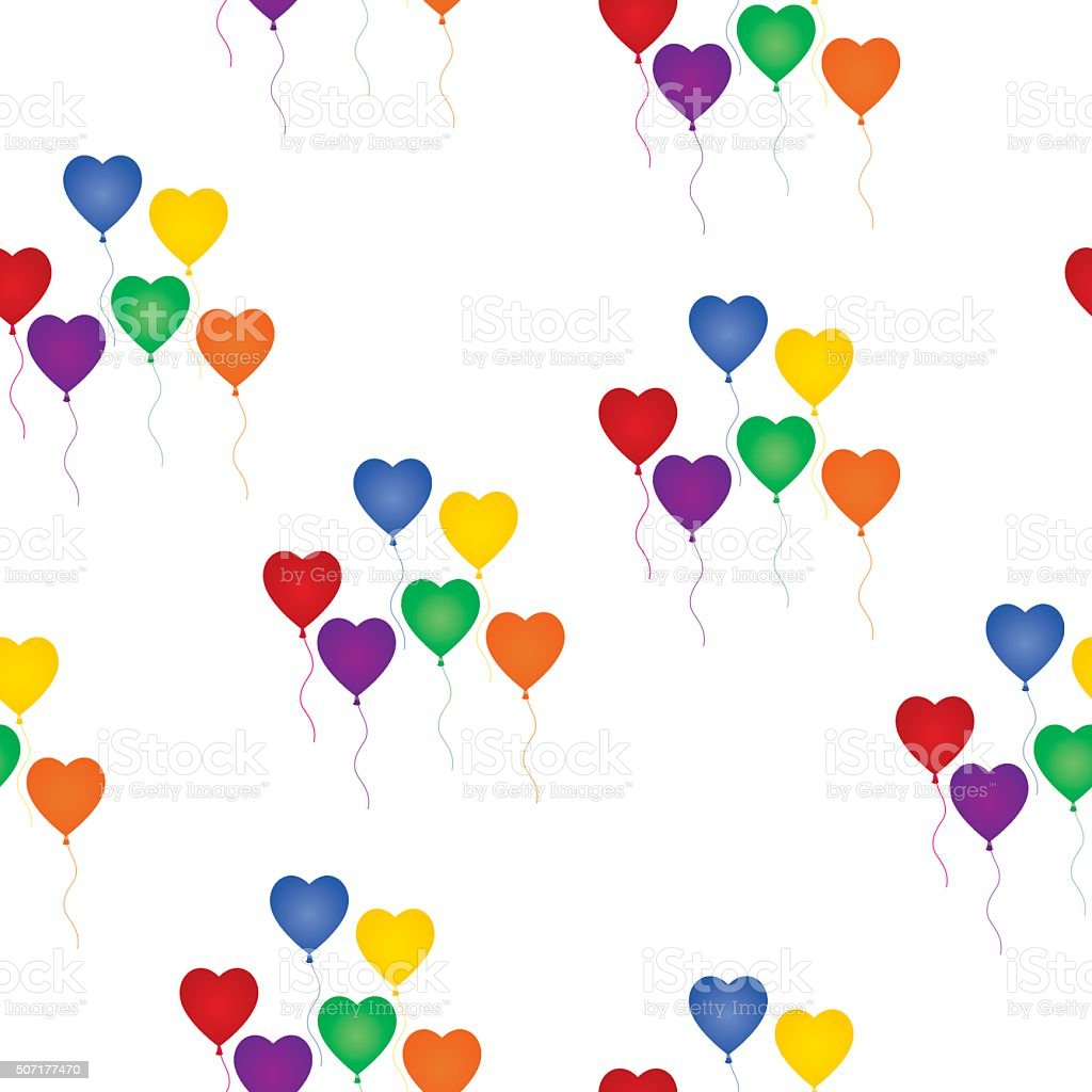 Seamless Rainbow Heart Balloons Background vector art illustration