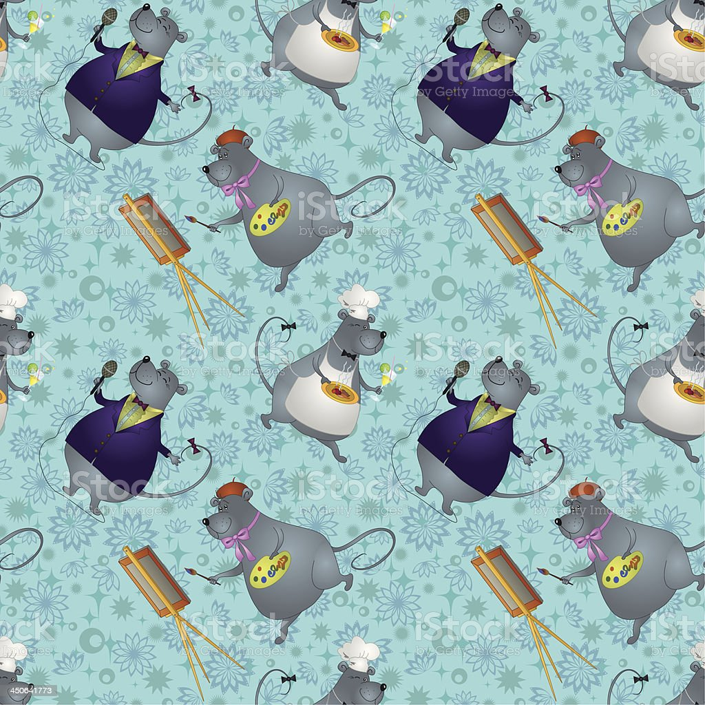 Seamless, rats artist, cook and singer vector art illustration