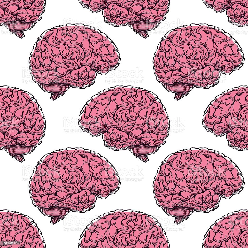 seamless realistic brain vector art illustration