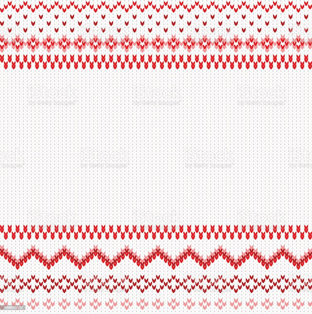 seamless red and white knitted background vector art illustration