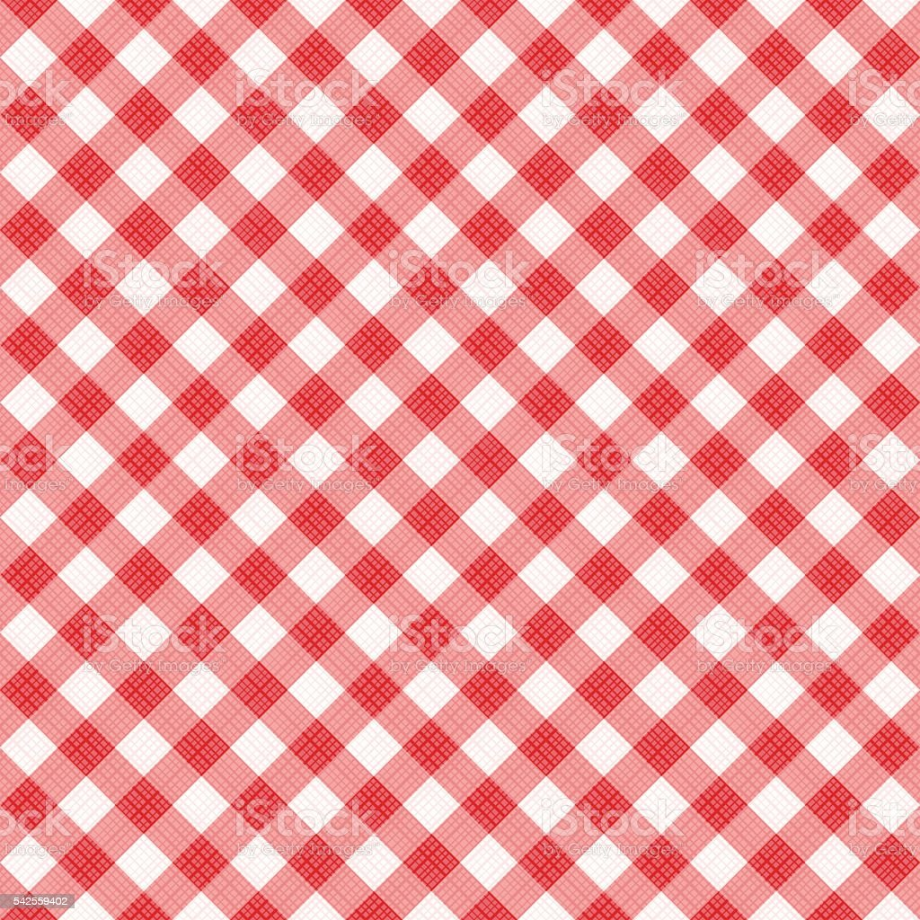 Seamless red diagonal gingham pattern, or fabric cloth vector art illustration