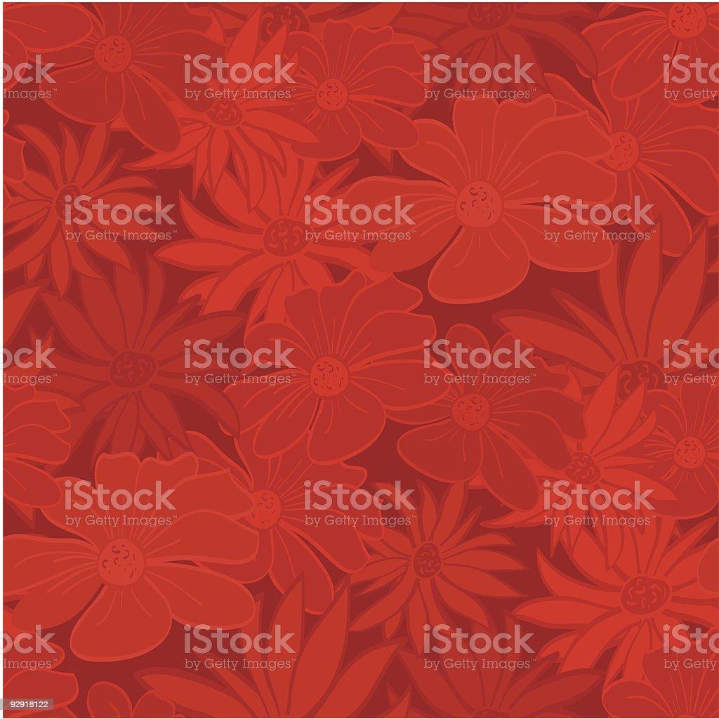 Seamless Red Floral Wallpaper vector art illustration