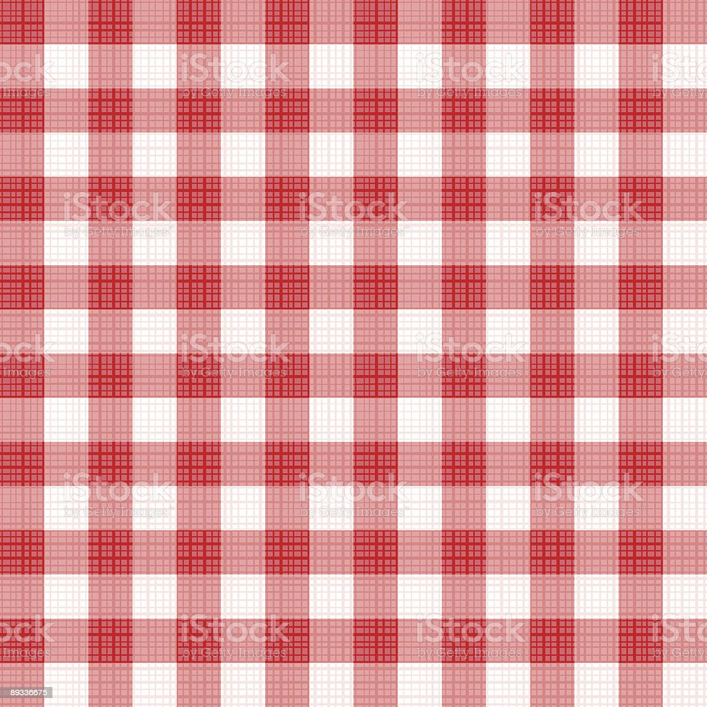 Seamless red gingham (repeat pattern) with fabric texture vector art illustration