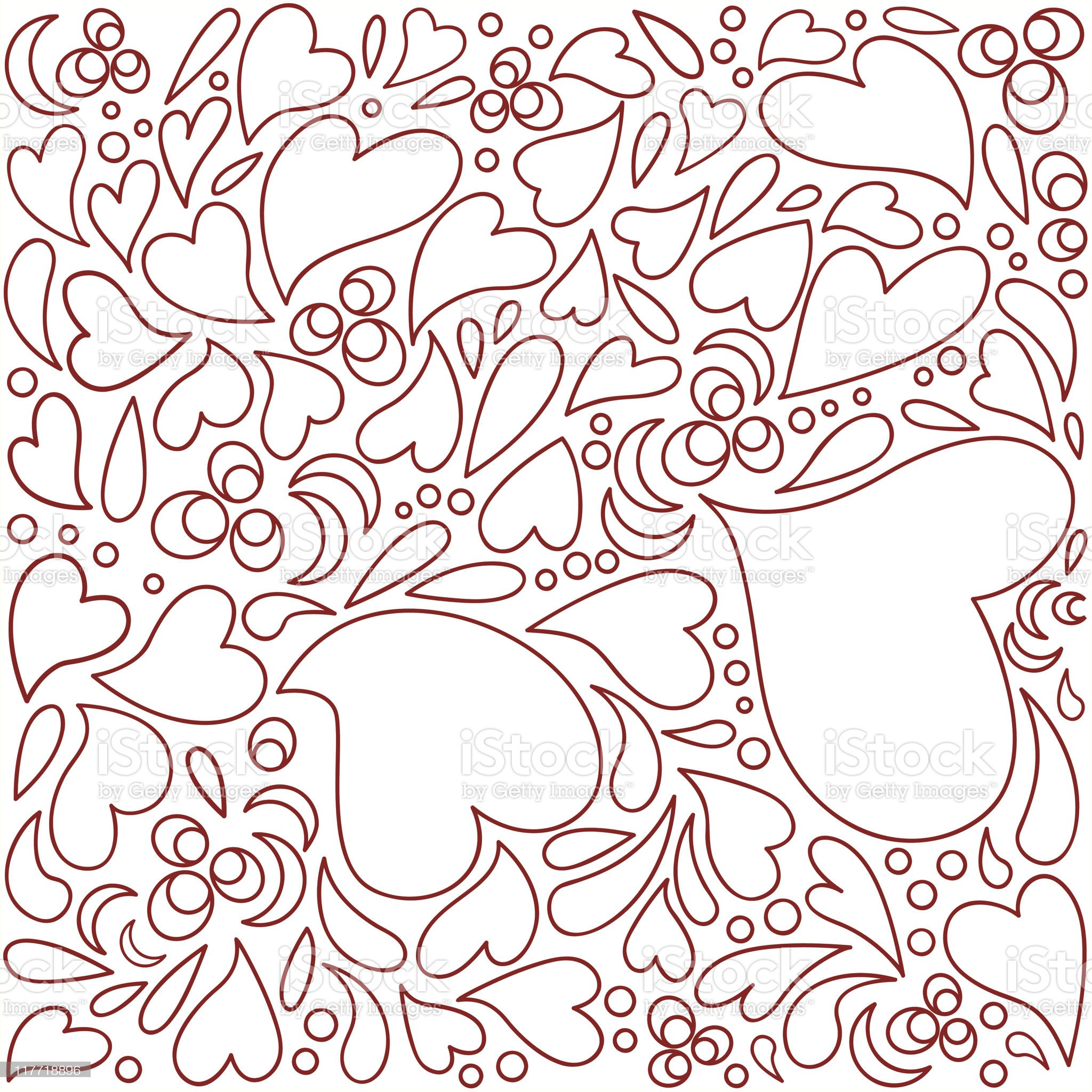 A seamless red heart pattern on white royalty-free stock vector art