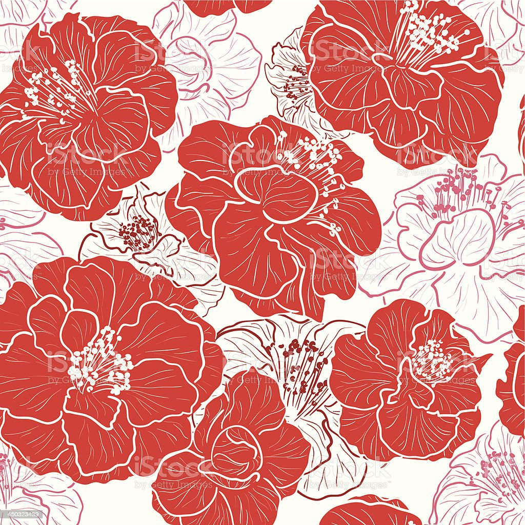 Seamless red pattern with floral background royalty-free stock vector art