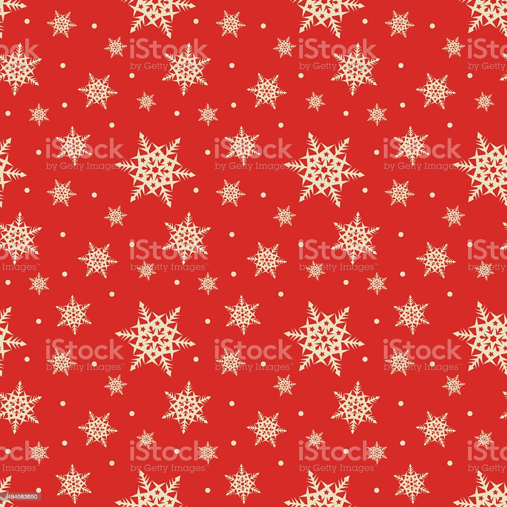 Seamless red pattern with snowflakes vector art illustration