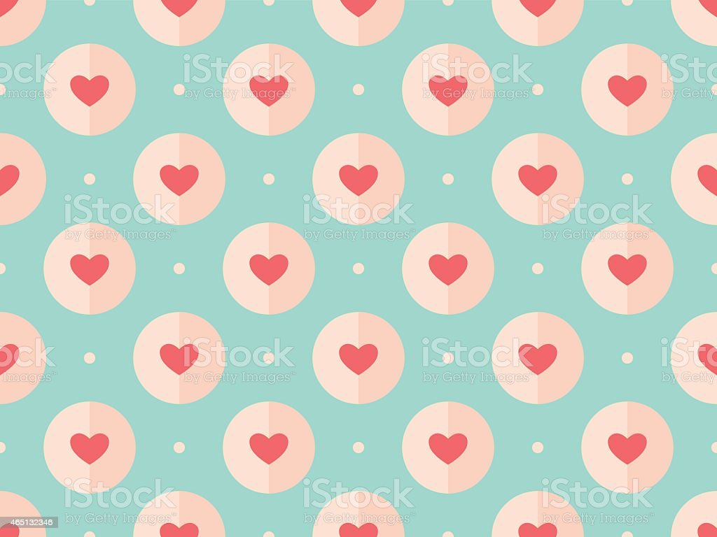 A seamless red, pink, and teal heart pattern vector art illustration