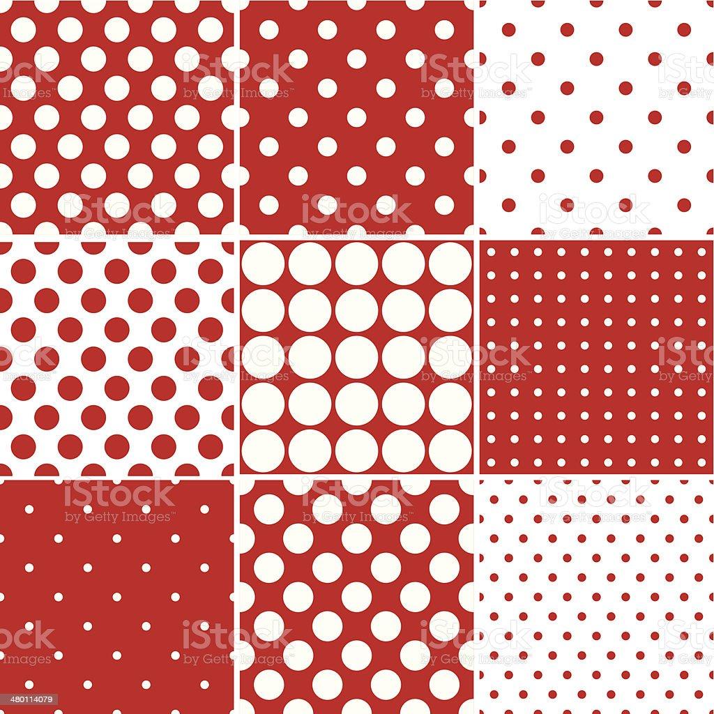 Seamless Red Polka Dot Patterns vector art illustration