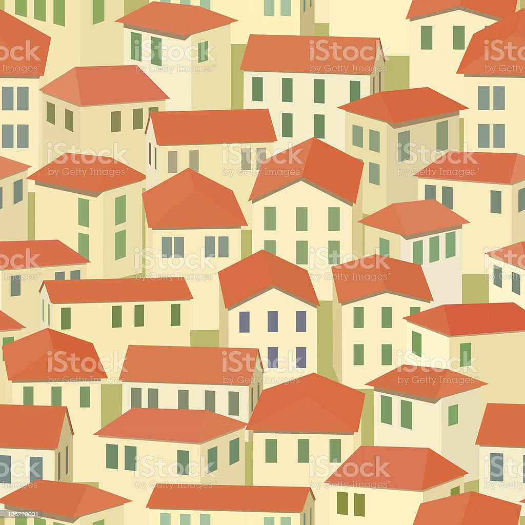 seamless red roof of old town royalty-free stock vector art