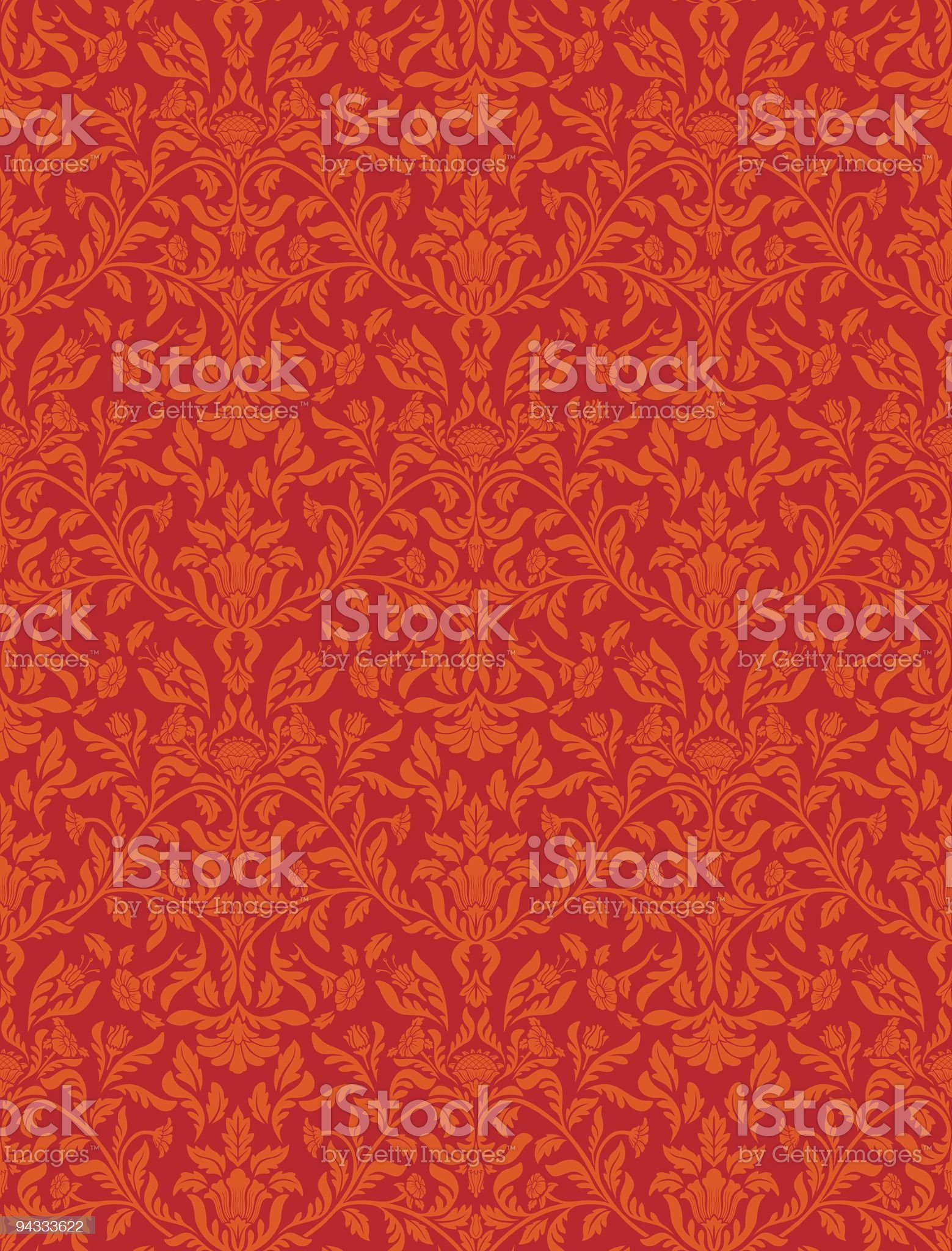 Seamless red wallpaper pattern royalty-free stock vector art