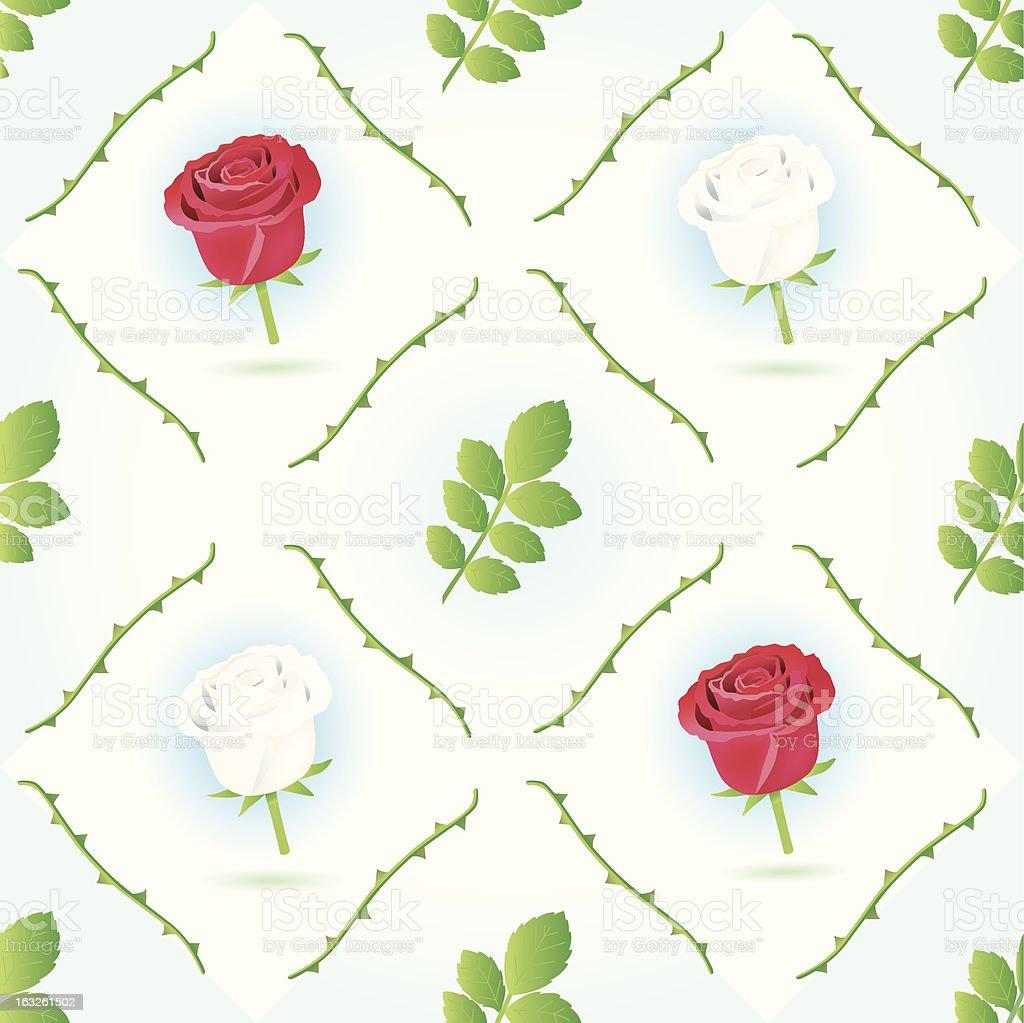 seamless red/white rosepattern. royalty-free stock vector art