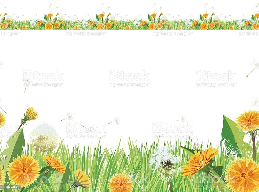 Seamless Repeating Dandelion Grass Border vector art illustration
