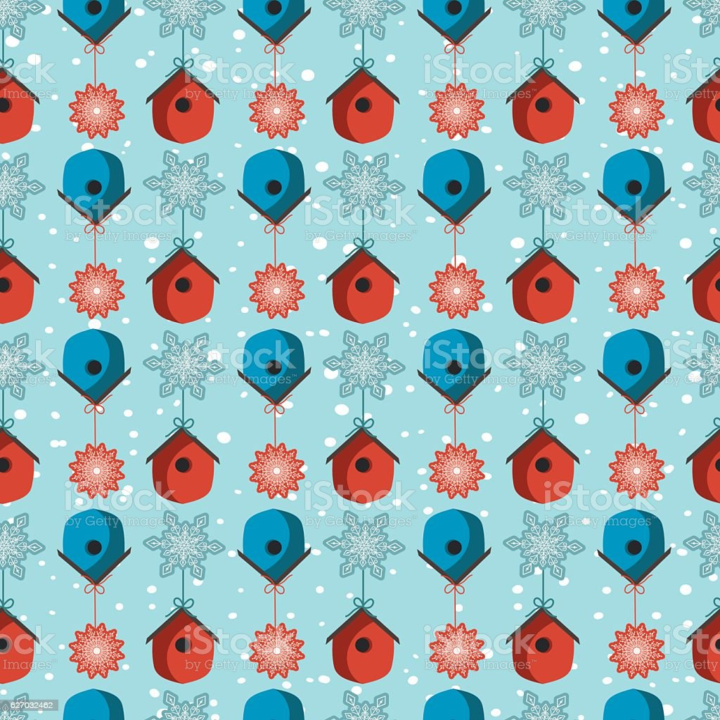 Seamless Repeating Pattern with red and blue birdhouses and snowflakes vector art illustration