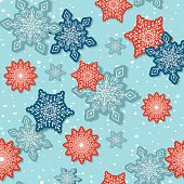 Seamless Repeating Pattern with snowflakes in red,blue and teal