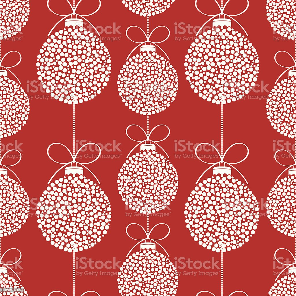 Seamless Repeating Red Christmas Ornament with white dots Pattern royalty-free stock vector art