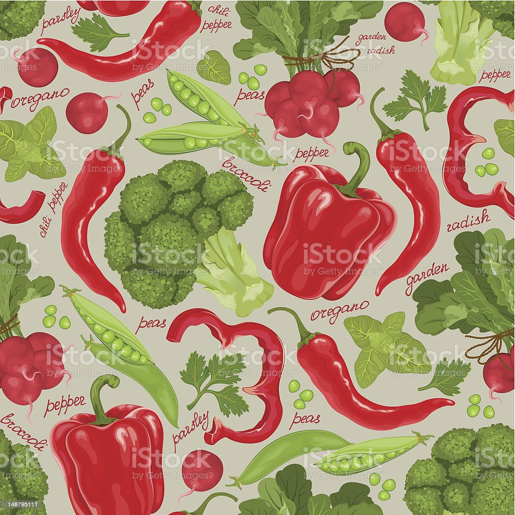 Seamless retro background from fresh vegetables royalty-free stock vector art