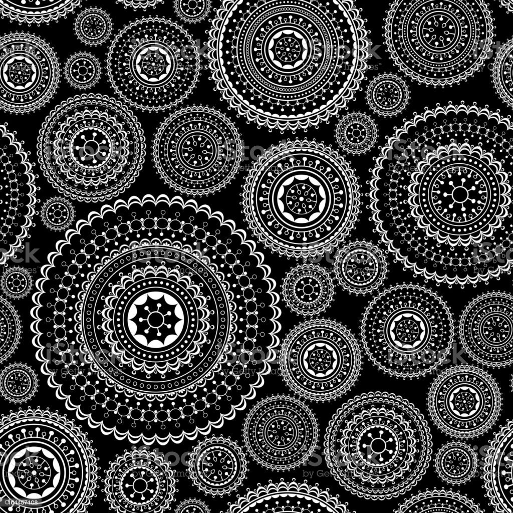 Seamless retro background of black and white circle designs royalty-free stock vector art