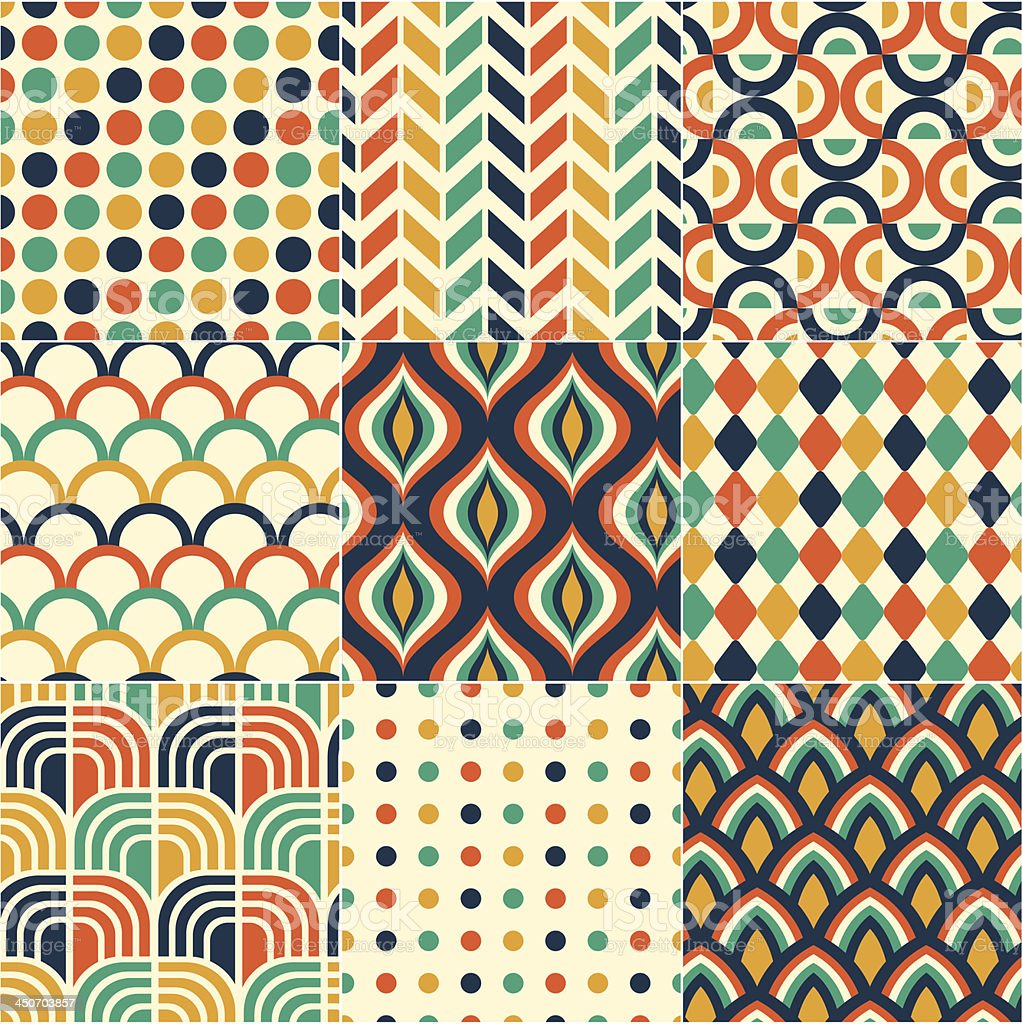 seamless retro colorful pattern vector art illustration