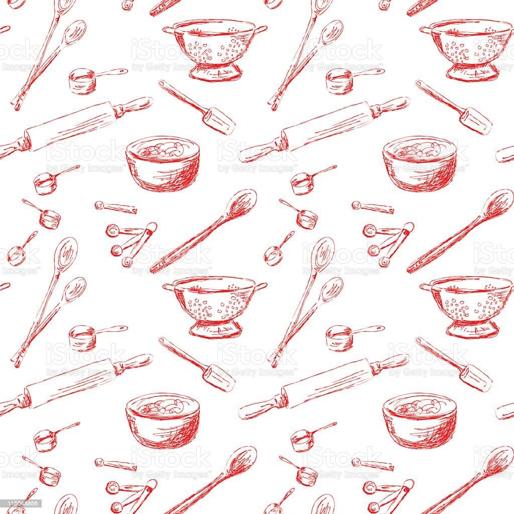 Seamless Retro Kitchen Gadgets vector art illustration